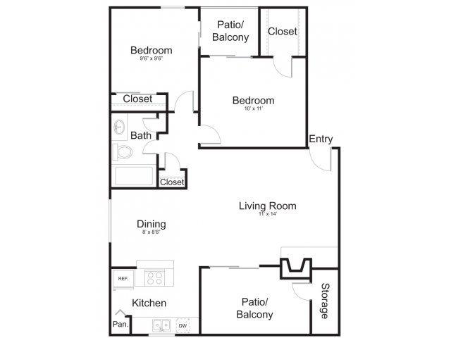 860 sq. ft. B2 floor plan