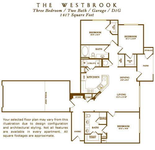 1,417 sq. ft. Westbrook floor plan