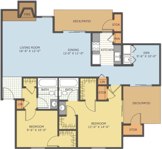 1,230 sq. ft. Cypress floor plan