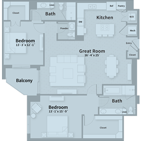 1,558 sq. ft. D4 floor plan