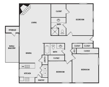 1,495 sq. ft. E floor plan