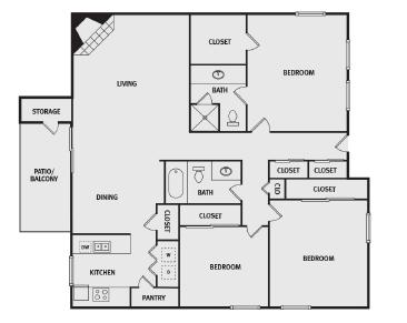 1,495 sq. ft. C2 floor plan