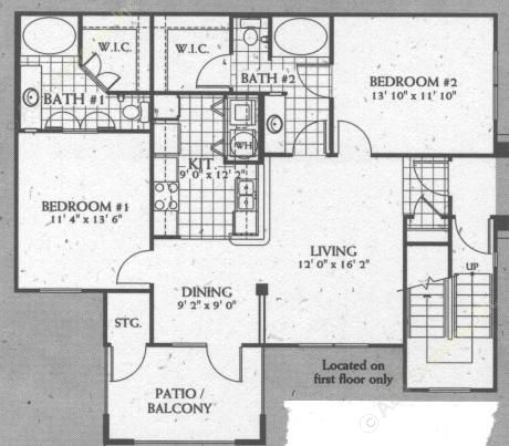 1,055 sq. ft. B3 floor plan