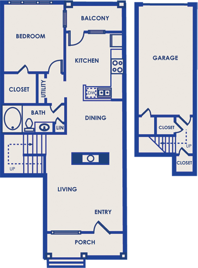 945 sq. ft. 11B floor plan