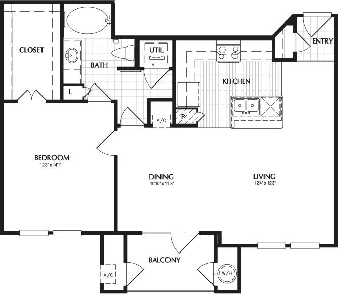 810 sq. ft. to 816 sq. ft. LAKEWOOD floor plan