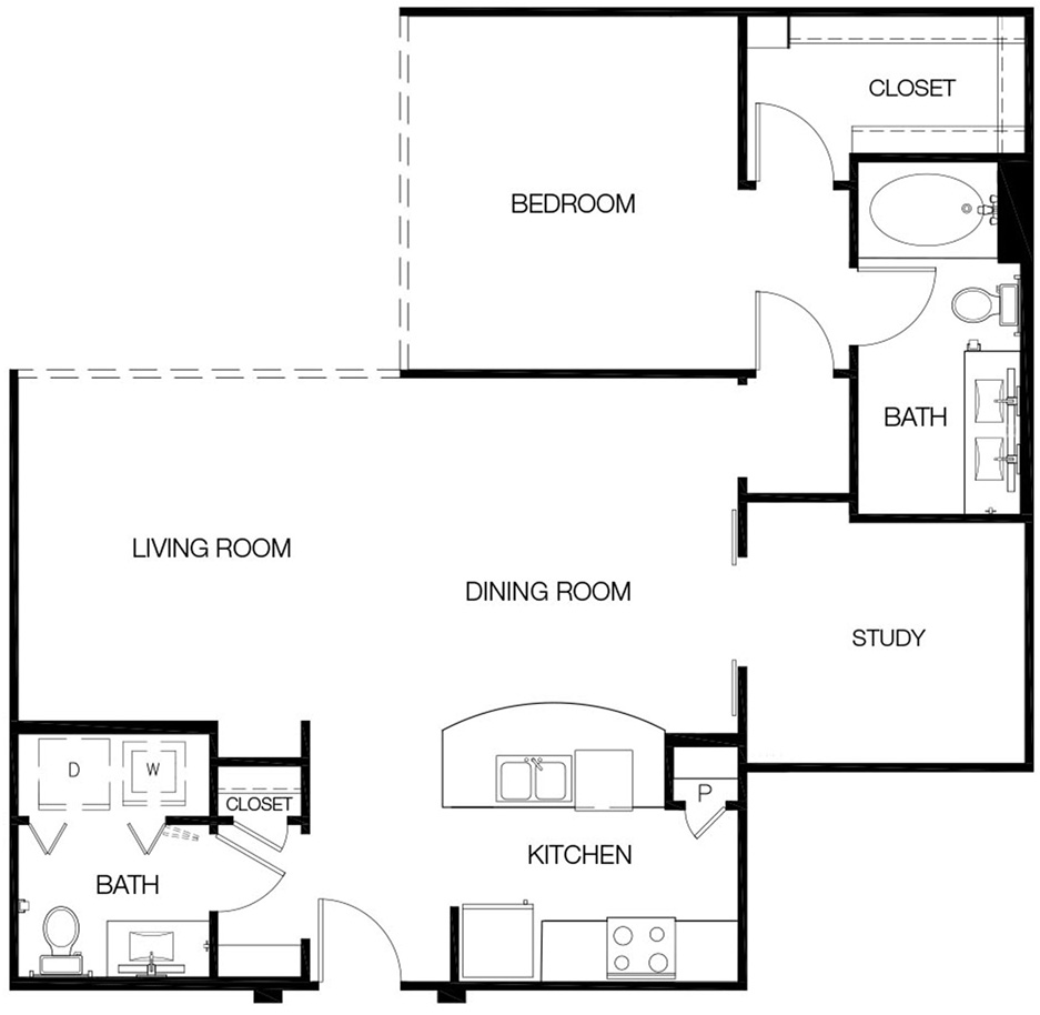 951 sq. ft. to 1,062 sq. ft. A3 floor plan
