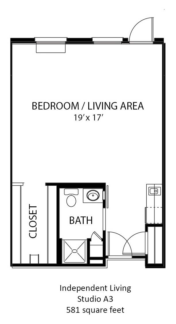581 sq. ft. A3 floor plan