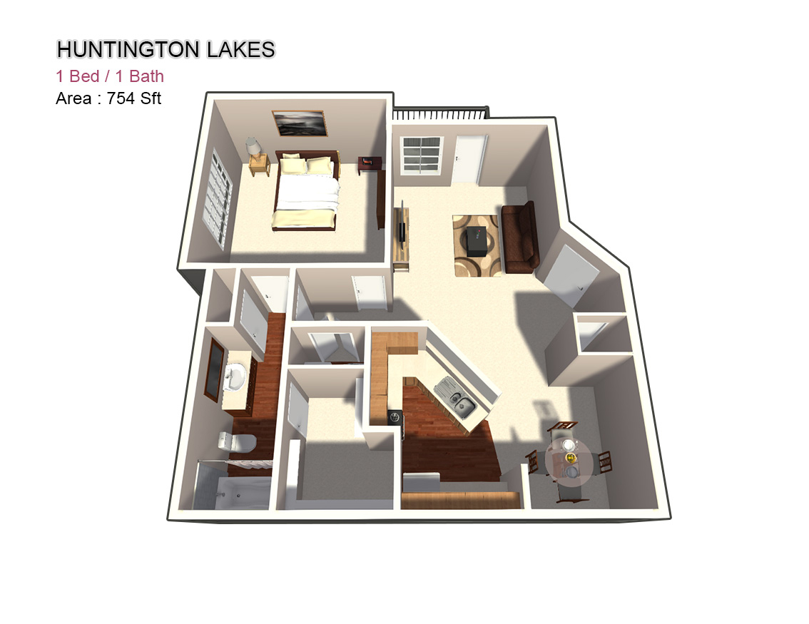 754 sq. ft. 1X1 floor plan