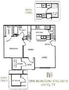 681 sq. ft. B/60% floor plan
