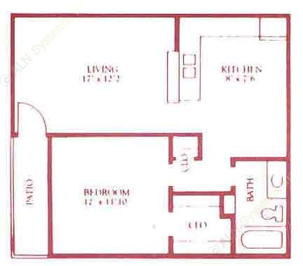 625 sq. ft. A1/A2 floor plan