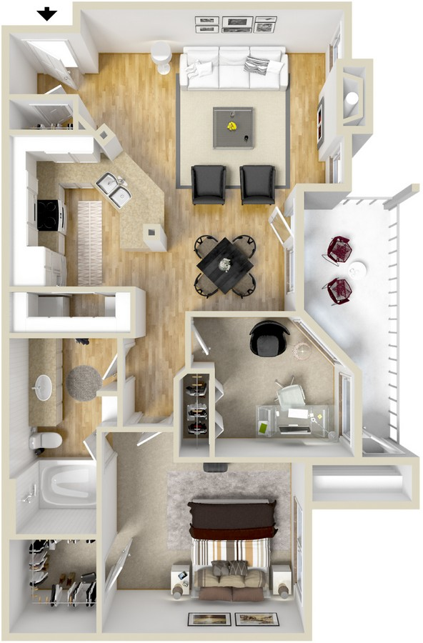 862 sq. ft. Venezia floor plan
