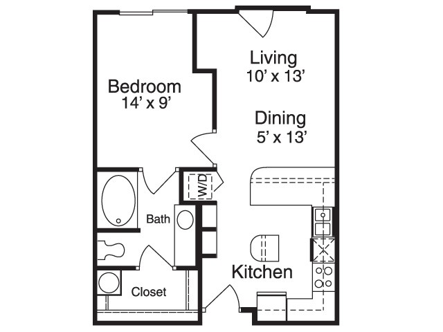 606 sq. ft. A1 floor plan