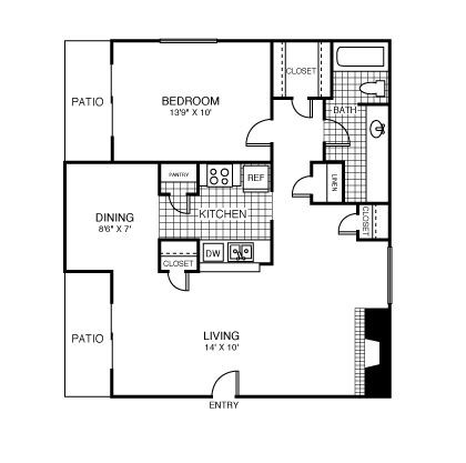 757 sq. ft. New York floor plan