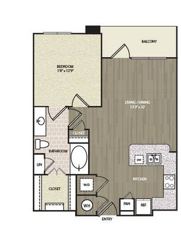 712 sq. ft. A7 floor plan