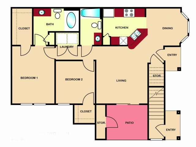 965 sq. ft. to 1,013 sq. ft. B2 floor plan