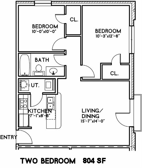 804 sq. ft. Manchester floor plan