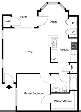 683 sq. ft. A/60% floor plan