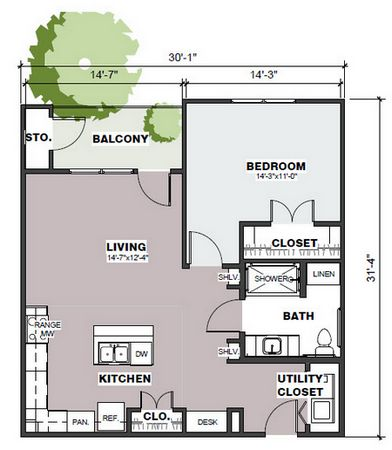 840 sq. ft. Founders/60% floor plan