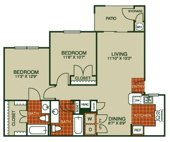 954 sq. ft. Thistle-B2 50% floor plan