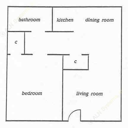 730 sq. ft. Hill w/Elec floor plan