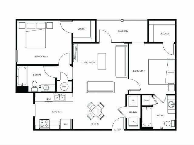 948 sq. ft. B1 floor plan