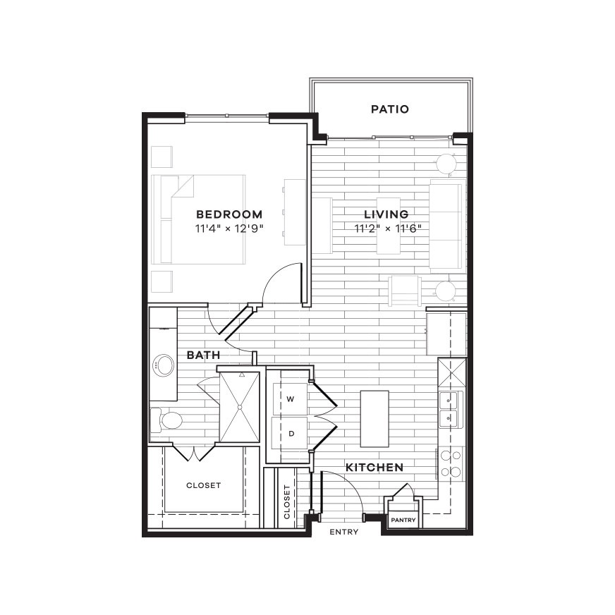688 sq. ft. 1A floor plan