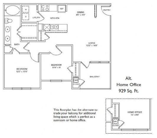 843 sq. ft. LB1 floor plan
