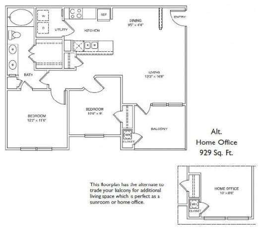843 sq. ft. LB1 floor plan