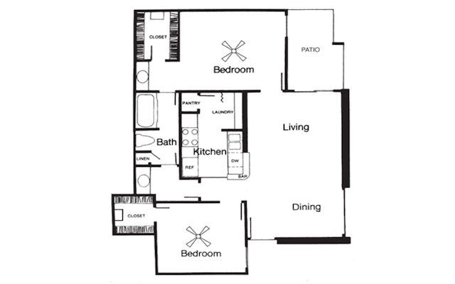 875 sq. ft. E floor plan