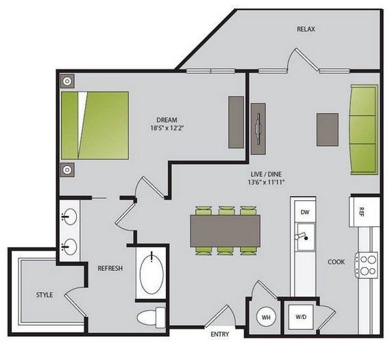 867 sq. ft. A3.1 floor plan