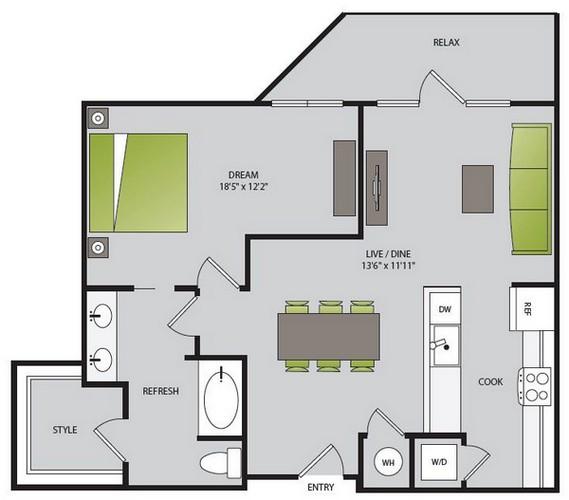 867 sq. ft. A3.1 floor plan