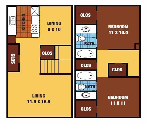 1,032 sq. ft. 60% floor plan
