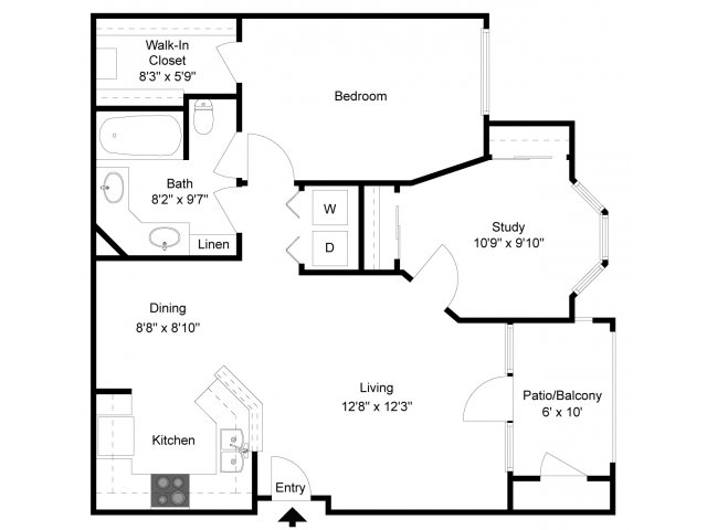 910 sq. ft. A4S floor plan