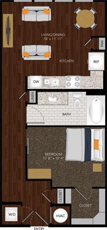 684 sq. ft. E2 floor plan