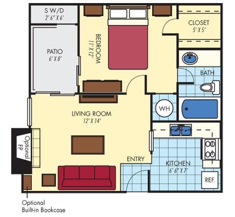 508 sq. ft. to 524 sq. ft. Zilker floor plan
