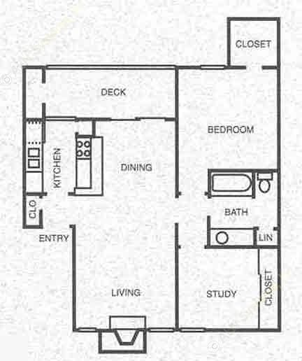 756 sq. ft. B1 floor plan