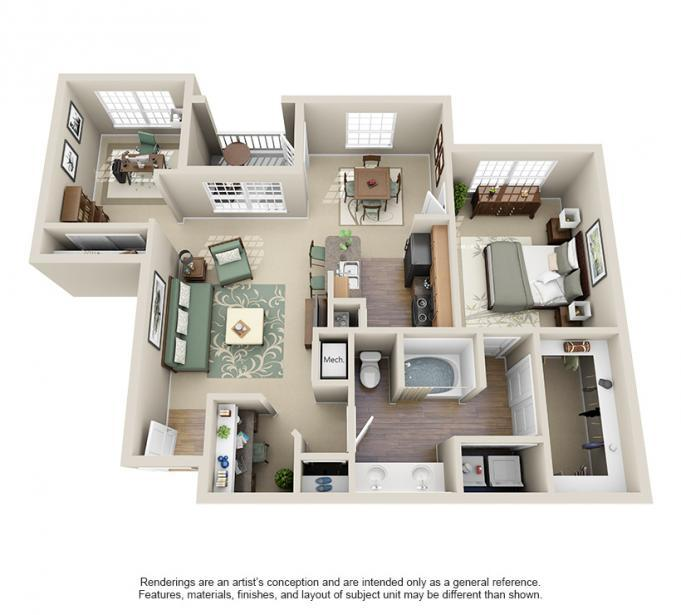 970 sq. ft. ALDEN floor plan