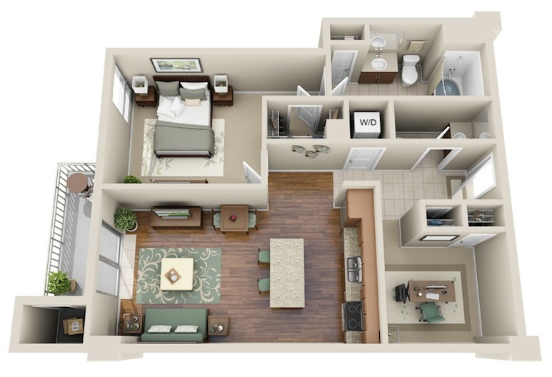860 sq. ft. A8 floor plan