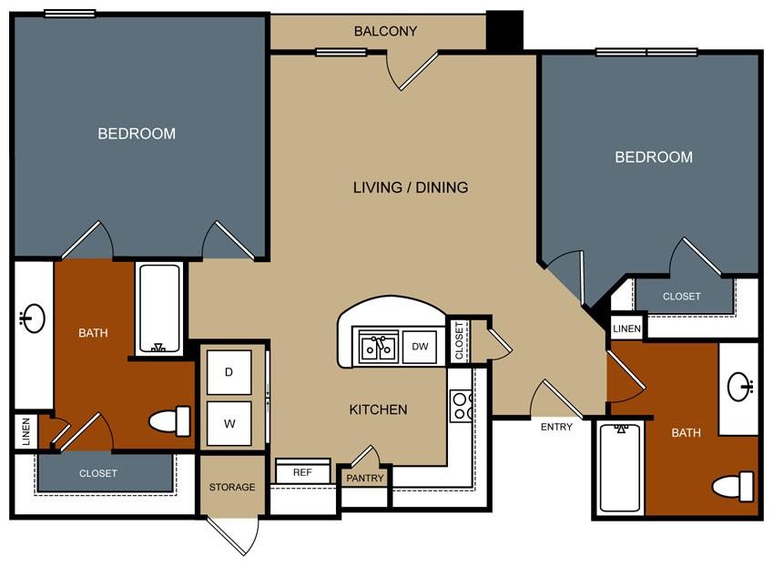 1,019 sq. ft. B3-60 floor plan