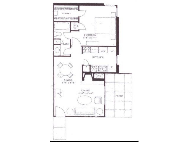 718 sq. ft. A7 floor plan
