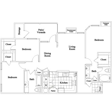 1,280 sq. ft. Chastain floor plan