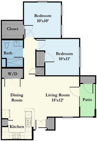 900 sq. ft. 40% floor plan