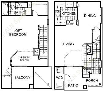 840 sq. ft. ALoft floor plan