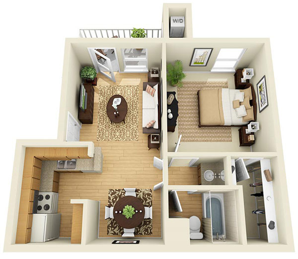 545 sq. ft. A floor plan
