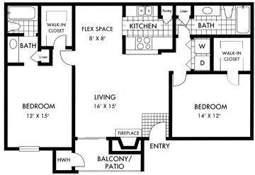 1,048 sq. ft. floor plan