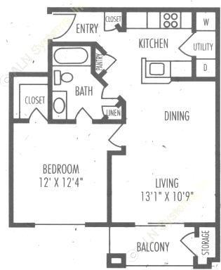 655 sq. ft. A1 floor plan