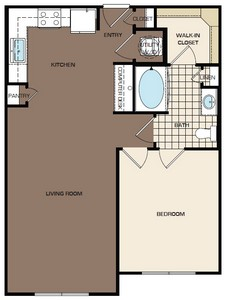 743 sq. ft. A1-sa floor plan