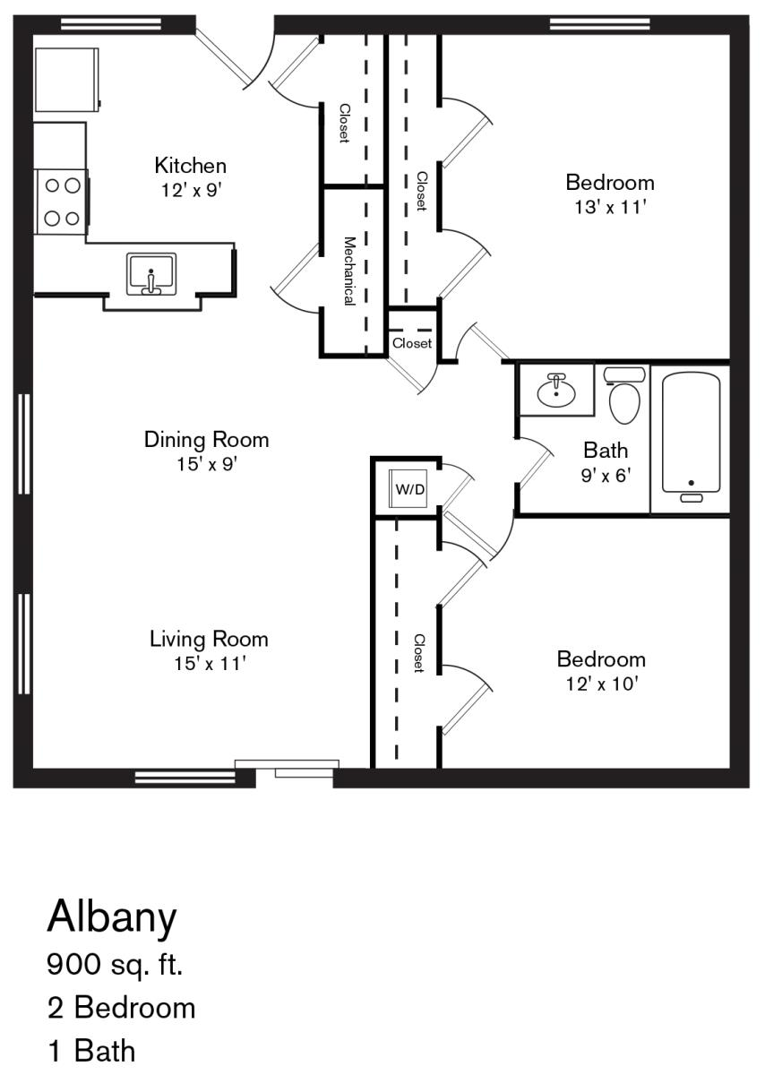 900 sq. ft. Albany floor plan