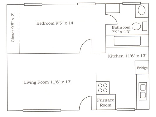 530 sq. ft. A1 floor plan