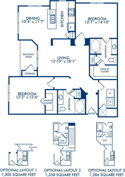 1,300 sq. ft. Springfield 1 floor plan